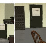 I paint in the backdrops, again, emulating Peregoy's keen use of limited palettes and slightly sloppy aesthetic.