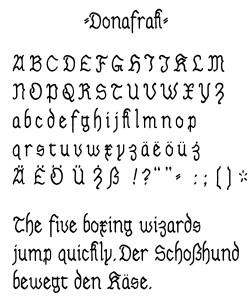 Donafrak Specimen Sheet