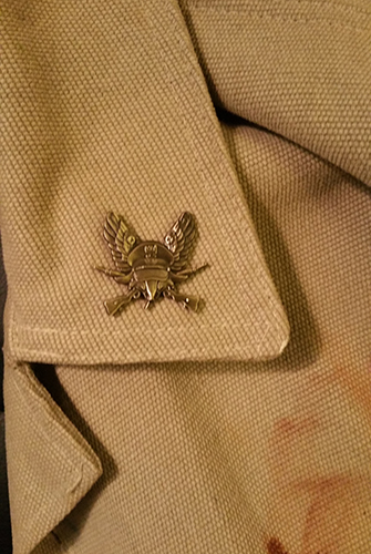 The pin on an actual lapel